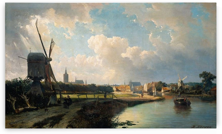 View of The Hague from the Delftse Vaart by Cornelis Springer
