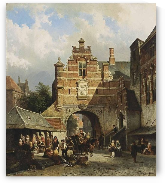 A fishmarket in a Dutch town by Cornelis Springer