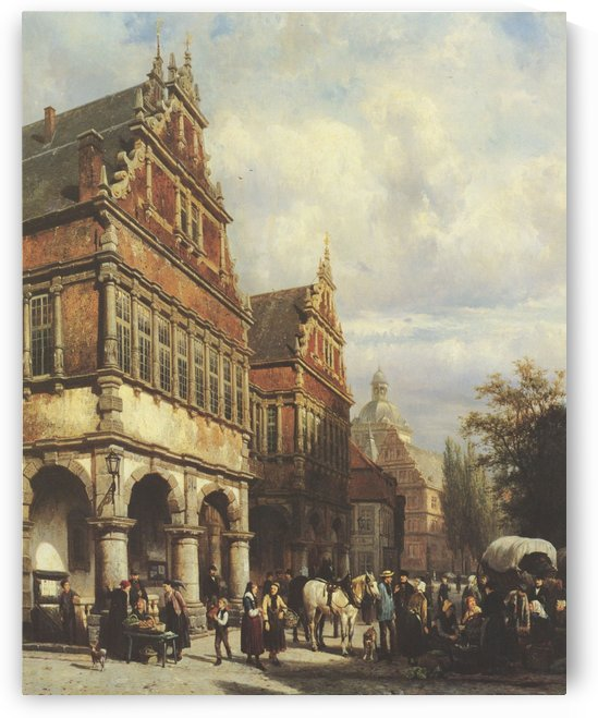 Paderborn, Marktplatz mit Rathaus by Cornelis Springer