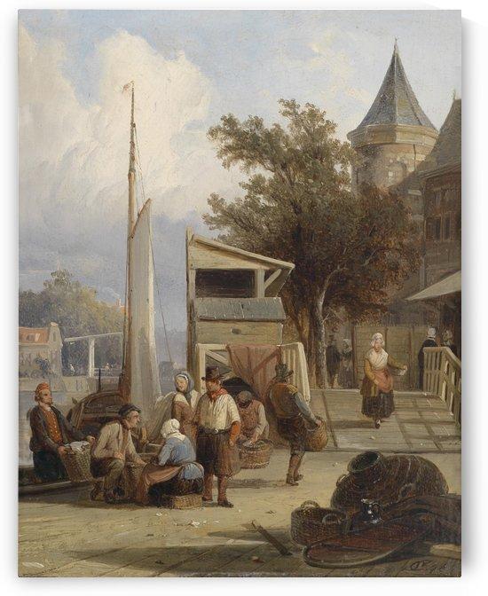 Fischerleute am Pier by Cornelis Springer