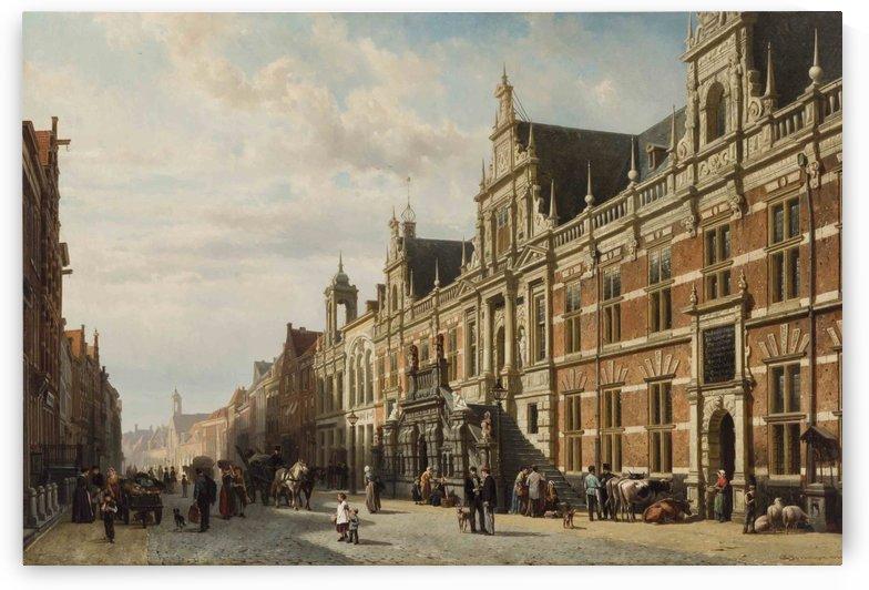 Het stadhuis te Leiden door by Cornelis Springer
