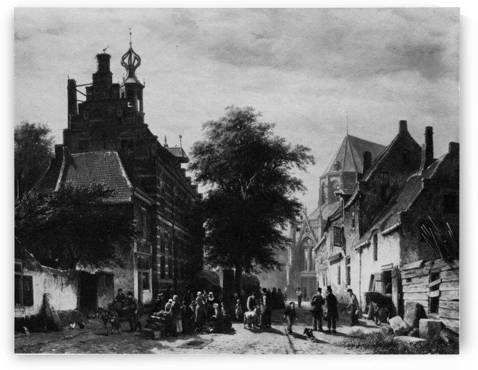 Town view (Black and white) by Cornelis Springer