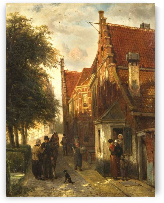 Outside the house by Cornelis Springer