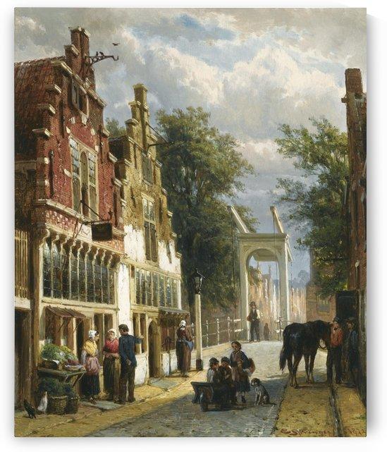 Figures in a street in Alkmaar by Cornelis Springer