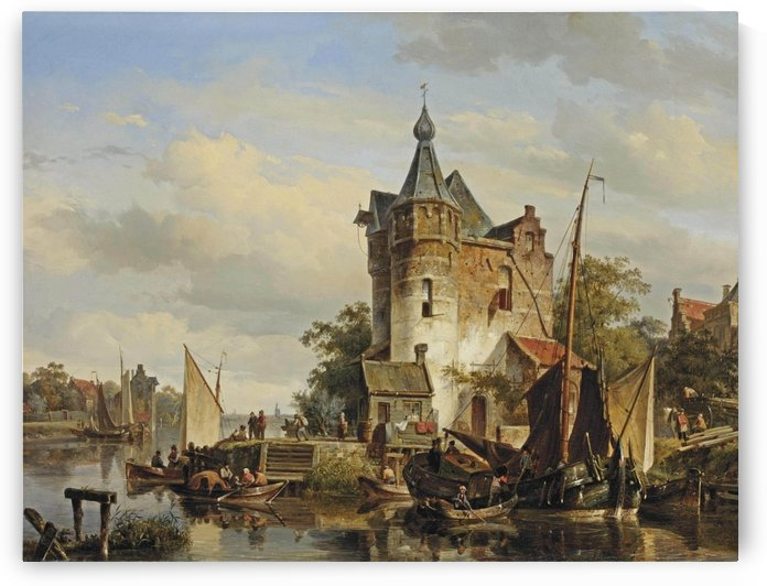 Moored barges at a quay near a keep by Cornelis Springer