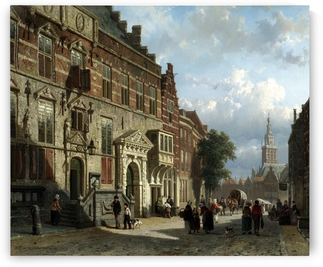The Town Hall on the Burchtstraat with St Steven's Church by Cornelis Springer