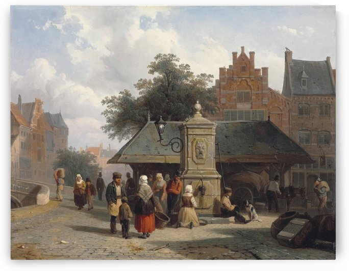 By the well in a Dutch town square by Cornelis Springer
