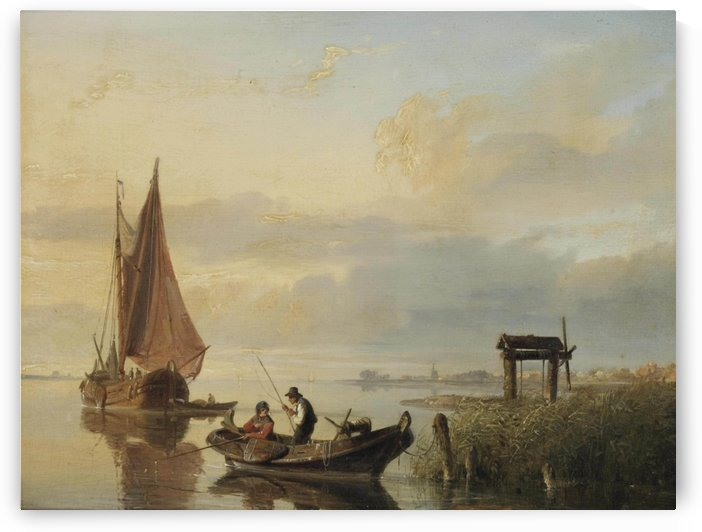 Fishing vessels at sunset by Cornelis Springer