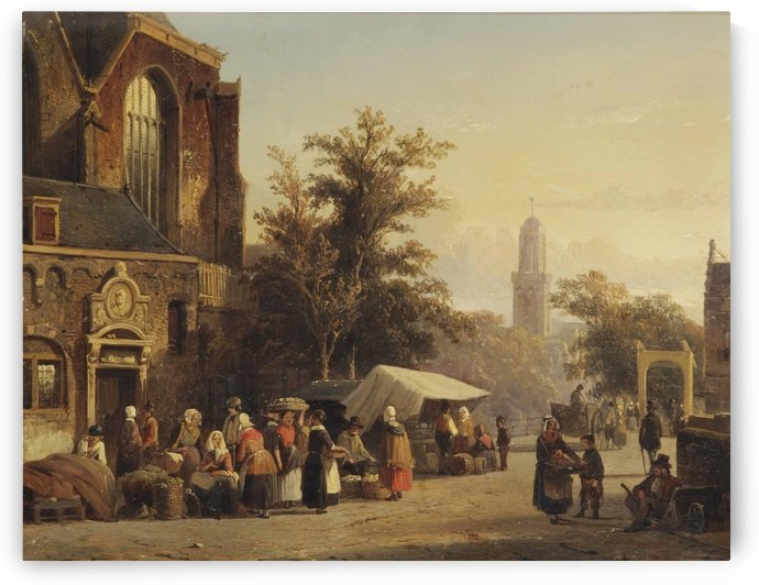 Daily activities at the Markt in Zwolle with the Onze Lieve Vrouwekerk in the distance by Cornelis Springer