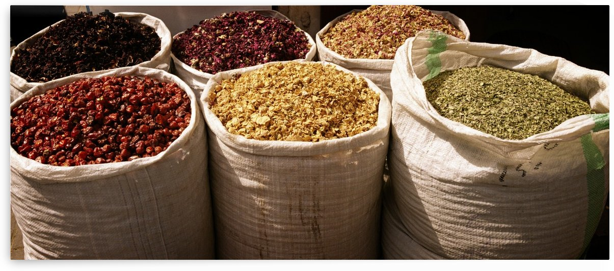 Bags of spices and herbs Dubai Spice Market by Downundershooter