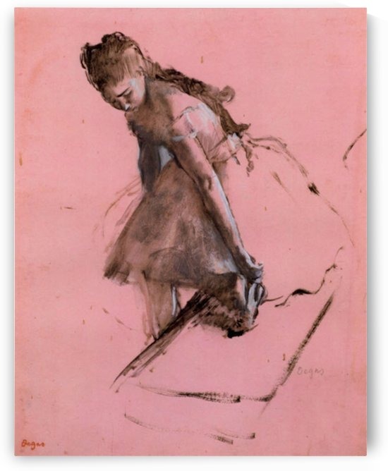 Dancer slipping on her shoe by Degas by Degas