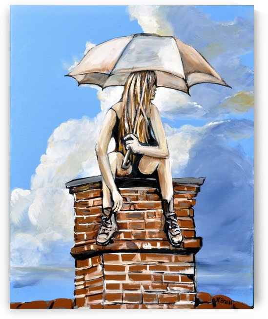 Girl with Umbrella by Roy Brash