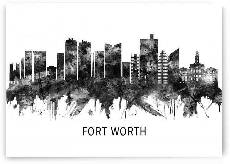 Fort Worth Texas Skyline BW by Towseef