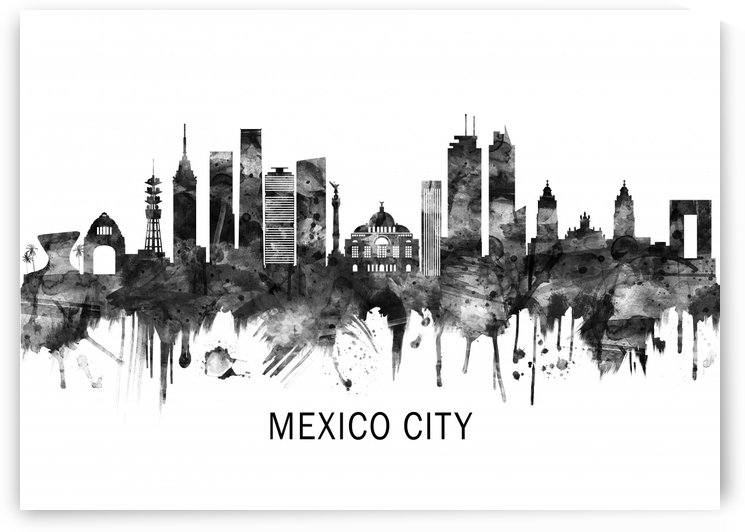 Mexico City Mexico Skyline BW by Towseef