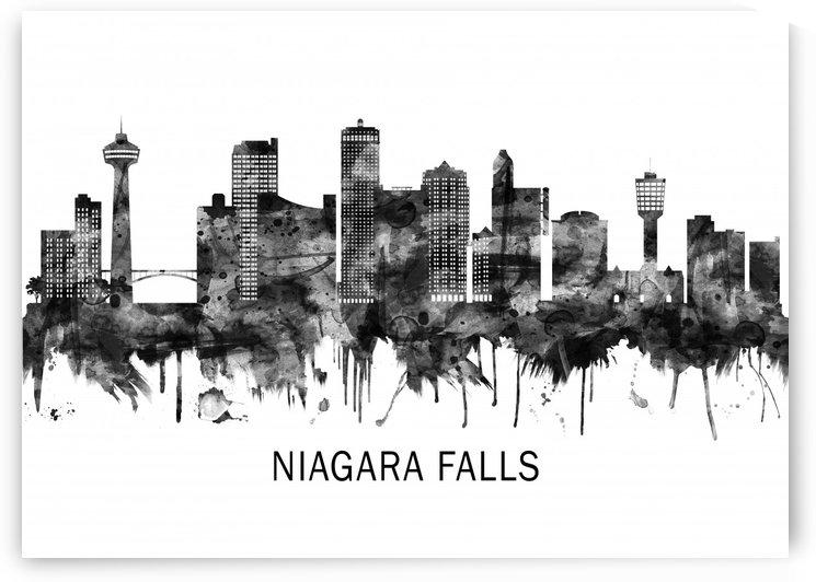 Niagara Falls Canada Skyline BW by Towseef