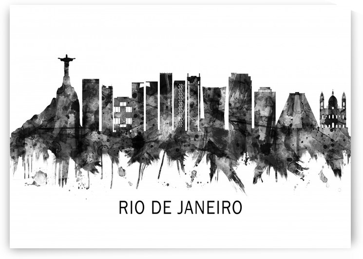 Rio de Janeiro Brazil Skyline BW by Towseef Dar