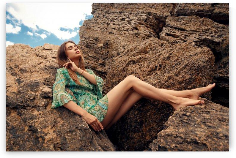 Girl on the stones by Krivonos