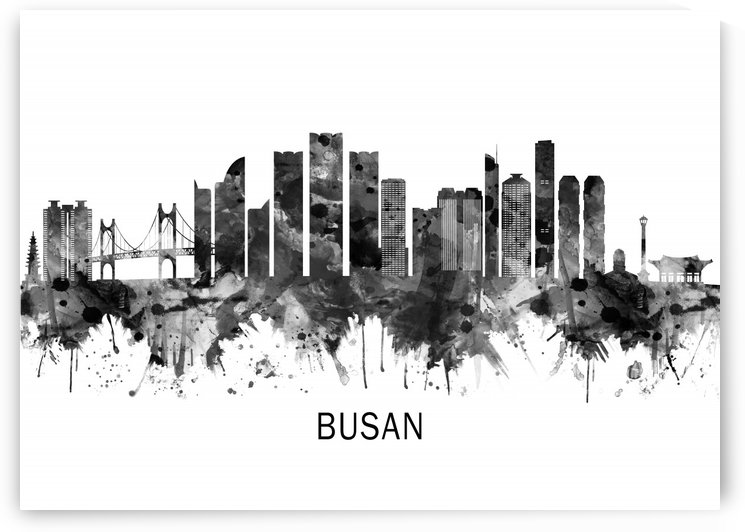 Busan South Korea Skyline BW by Towseef Dar