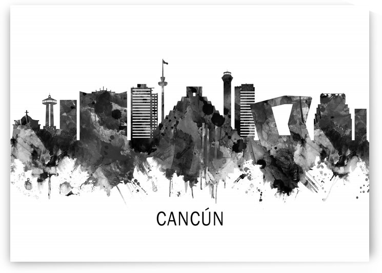 Cancun Mexico Skyline BW by Towseef