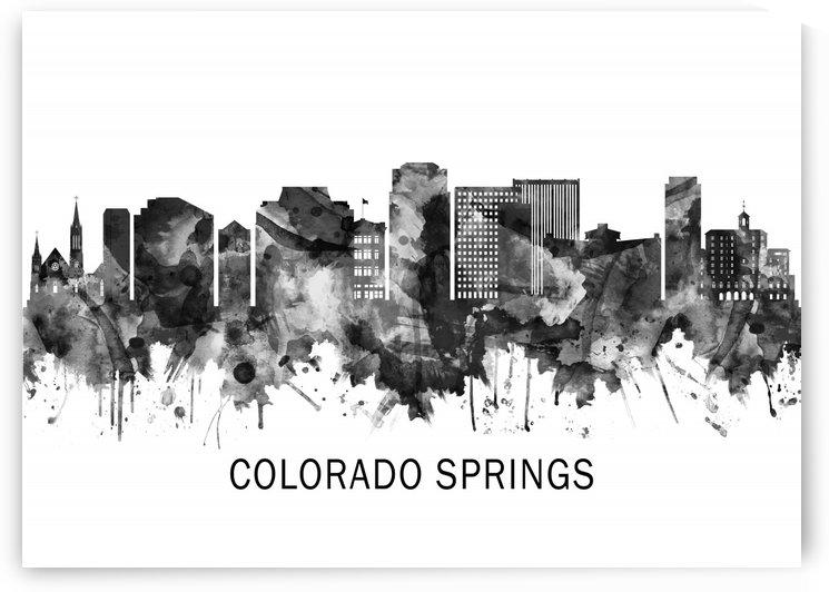 Colorado Springs Colorado Skyline BW by Towseef