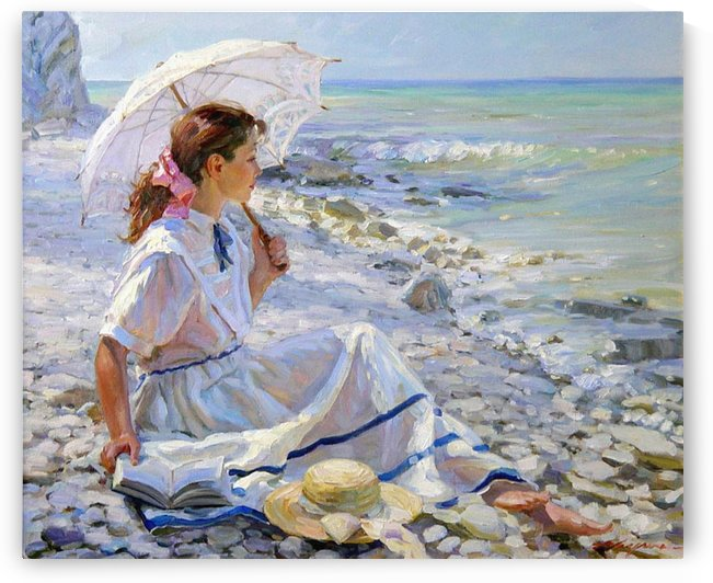 A girl watching at the sea by Alexander Averin