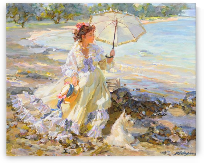 A girl with umbrella by Alexander Averin