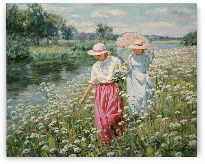 A walk in a field of flowers by Alexander Averin