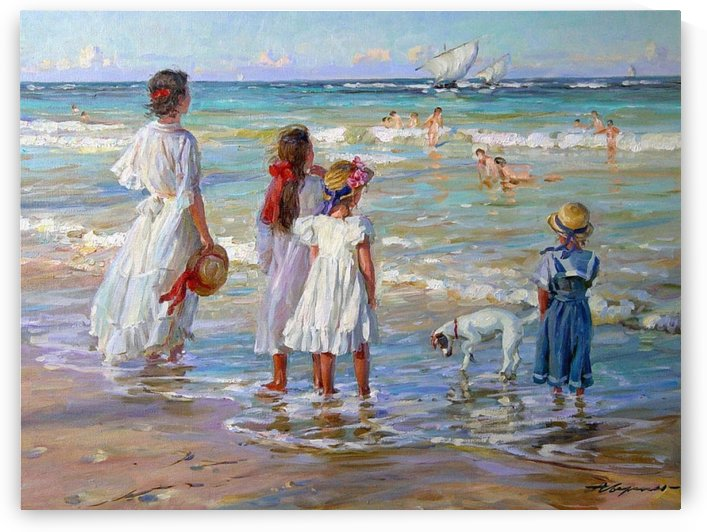 Children at the sea by Alexander Averin