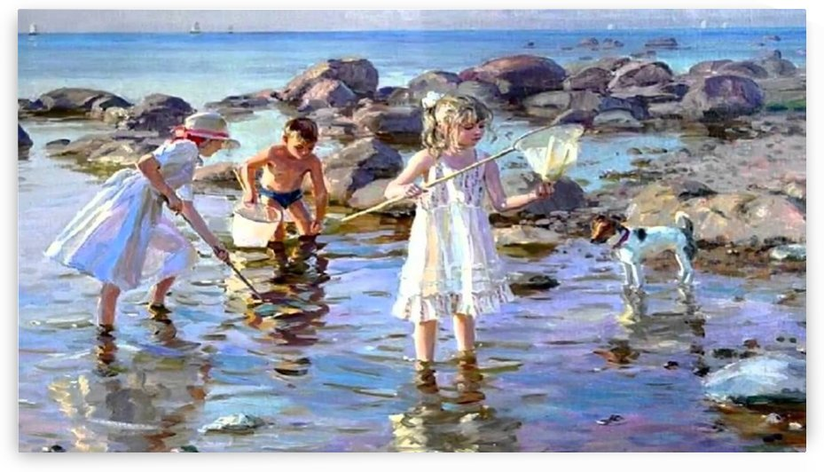 Children fishing by Alexander Averin