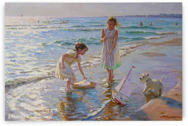 Children playing by the sea by Alexander Averin