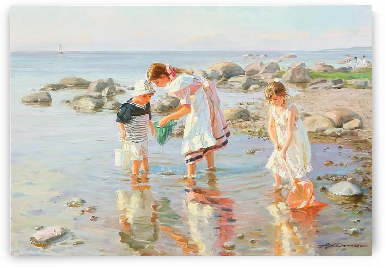 Three children playing by Alexander Averin
