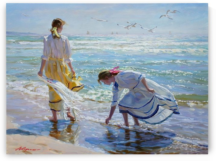 Two girls on the beach by Alexander Averin