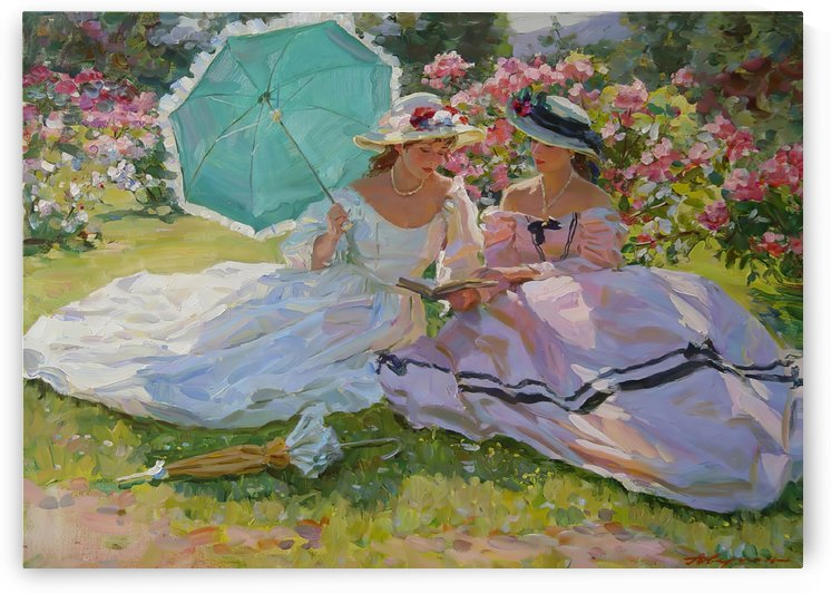 Two women at a picnic by Alexander Averin