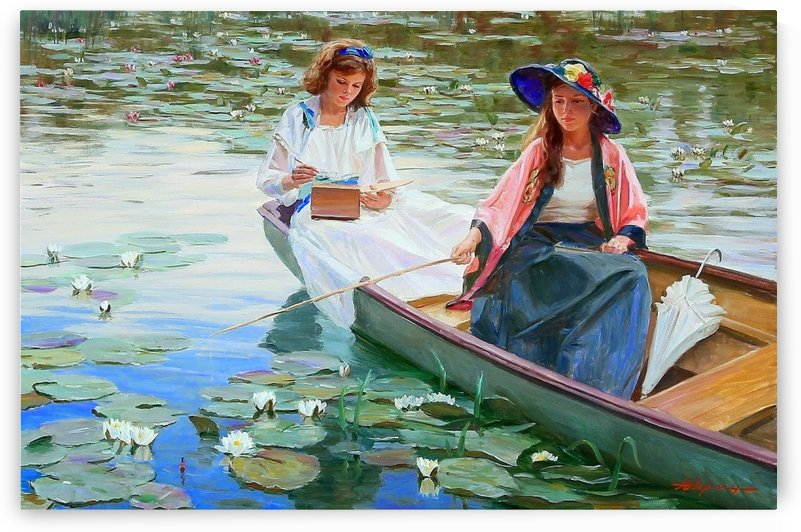 Two women on a boat by Alexander Averin