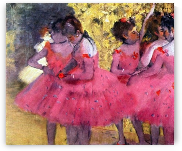Dancers in pink between the scenes by Degas by Degas
