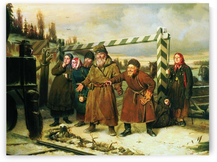 At the railroad by Vasily Grigorievich Perov
