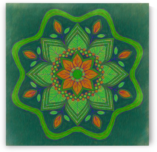 Orange and Green Floral Mandala FAA by Leslie Montgomery
