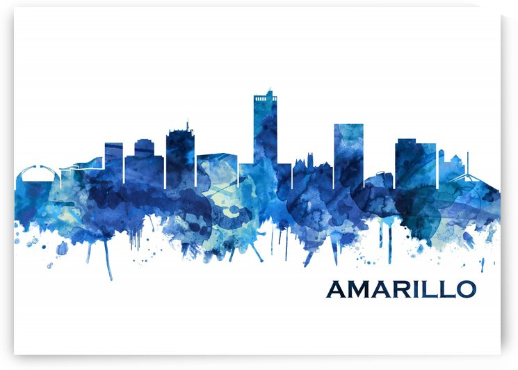 Amarillo Texas Skyline Blue by Towseef