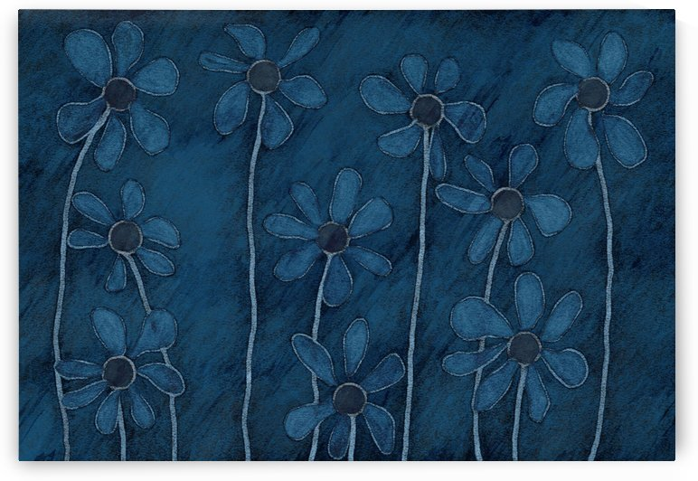 Blue Doodle Daisies by Leslie Montgomery