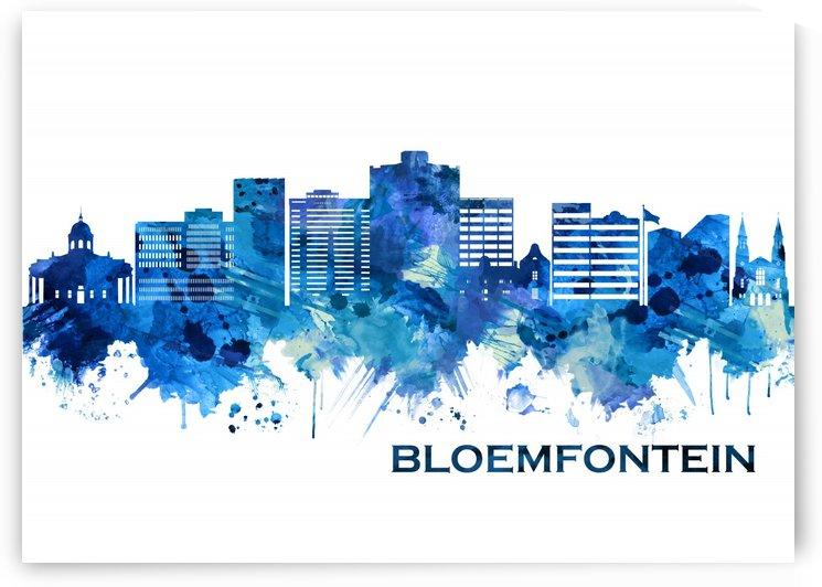 Bloemfontein South Africa Skyline Blue by Towseef Dar