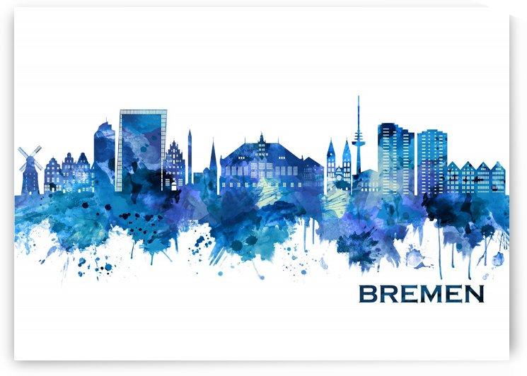 Bremen Germany Skyline Blue by Towseef Dar