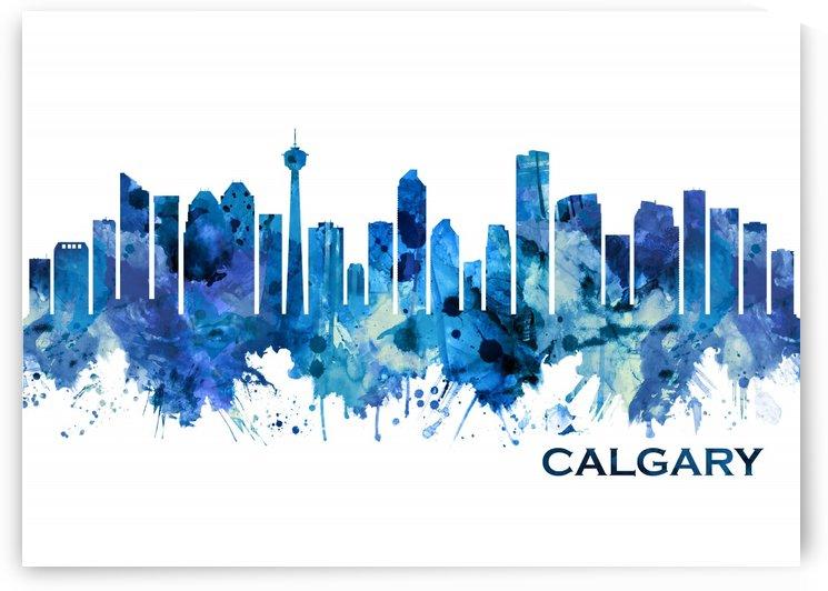 Calgary Canada Skyline Blue by Towseef Dar