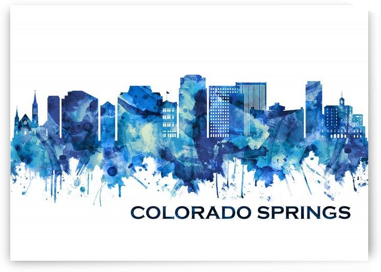 Colorado Springs Colorado Skyline Blue by Towseef