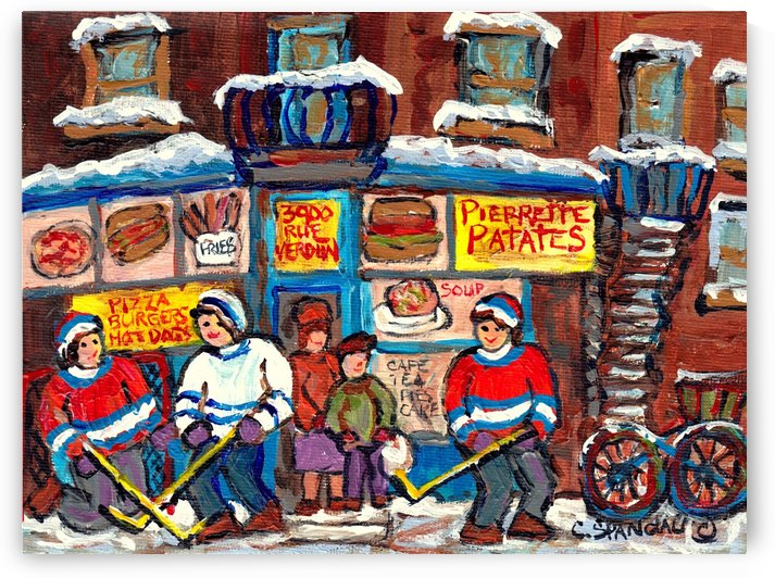 MONTREAL WINTER SCENE STREET HOCKEY by Carole  Spandau