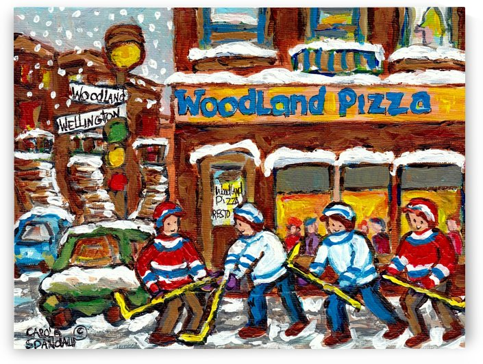 MONTREAL WINTER SCENE WOODLAND PIZZA VERDUN HOCKEY ART by Carole  Spandau
