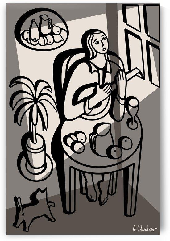 Girl Playing a Lute by Alexander Chubar