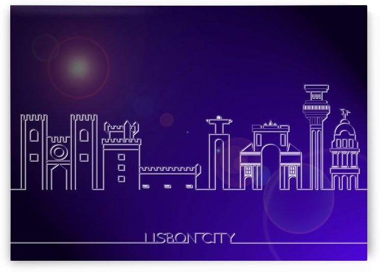 Skyline Bluprint Light of Lisbon City by Gunawan Rb