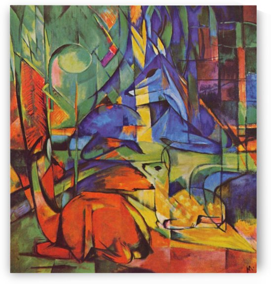 Deer in Forest by Franz Marc by Franz Marc