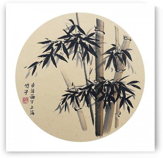 Bamboo - black on gold - round by Birgit Moldenhauer
