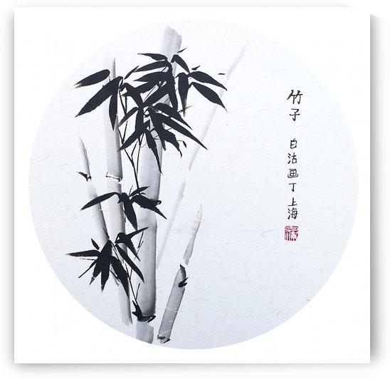 Bamboo - black round by Birgit Moldenhauer